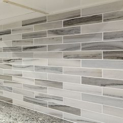 Grey Kitchen Tile Industrial Lighting Modern White Gray Subway Marble Backsplash