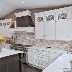 Home Styles Kitchen Cart Alder Cabinets Modern White Gray Subway Marble Backsplash Tile