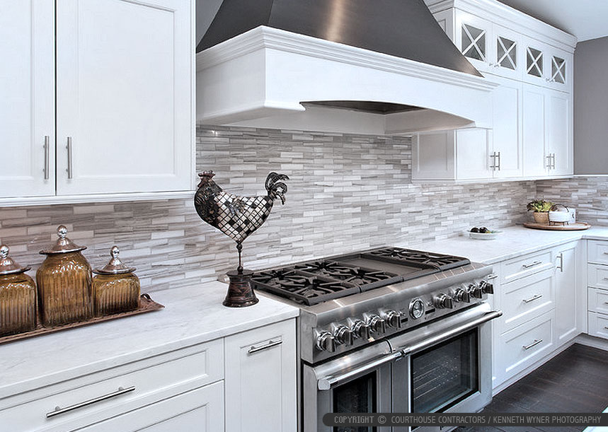 White Modern Kitchen With Marble Subway Tile