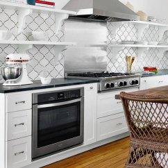 Ceramic Kitchen Tile Round Table Set White Arabesque Mosaic Backsplash Com Home