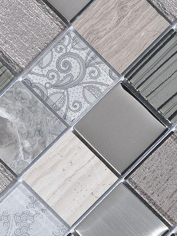 Brown Gray Marble Glass Backsplash Tile