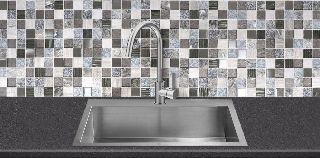 Gray Glass Marble Backsplash Tile Gray Quartz Countertop