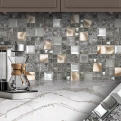 Grey Kitchen Backsplash Sink Drain Glass Metal Gray Copper Mosaic Tile Com Brown