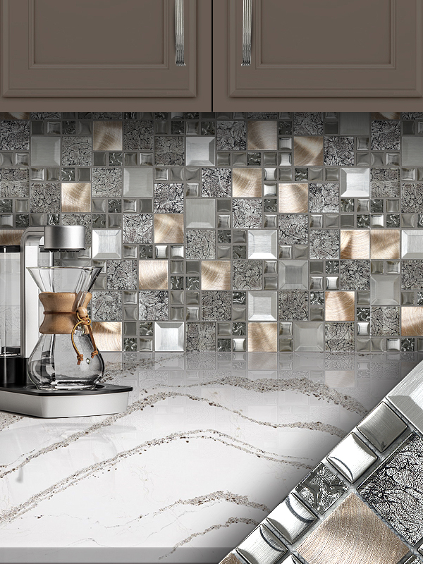 grey kitchen tile how to buy cabinets glass metal gray copper mosaic backsplash com brown