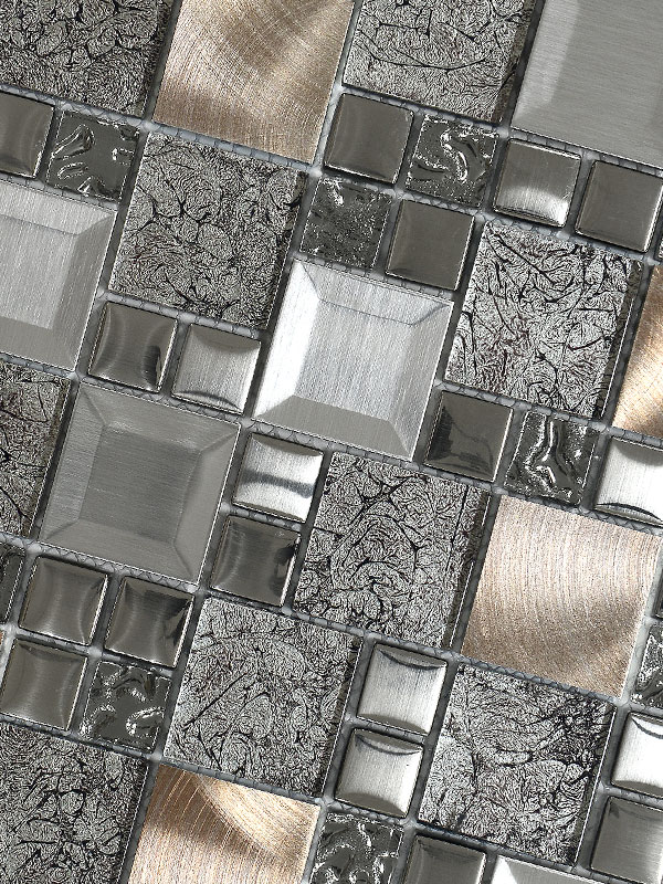 metallic kitchen wall tiles cabinets for mobile homes glass metal gray copper mosaic backsplash tile ...