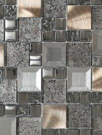Glass Metal Gray Copper Mosaic Backsplash Tile ...