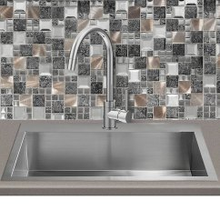 Black And White Tile Kitchen Sink Sprayer Parts Glass Metal Gray Copper Mosaic Backsplash ...