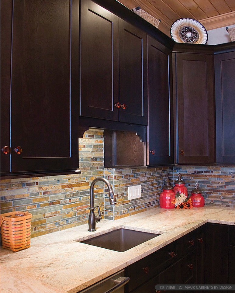 Brown Cabinet Subway Slate Glass Backsplash Tile