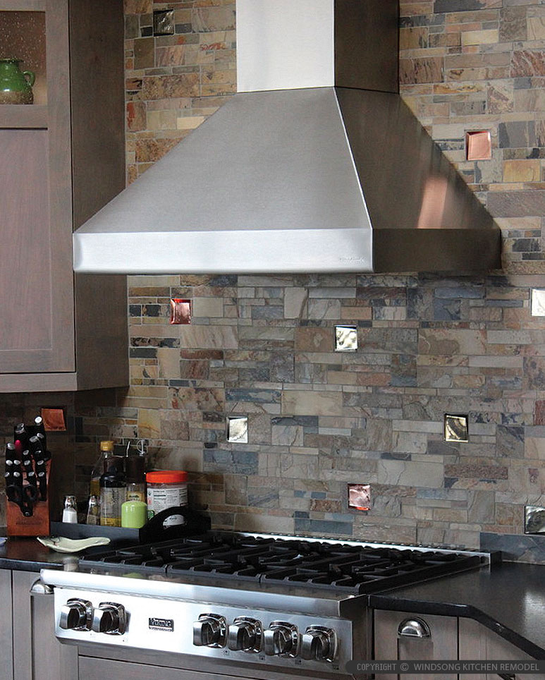 Brown Gray Slate Glass Backsplash Tile