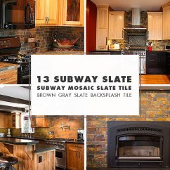 Slate Backsplash In Kitchen Fauset Tile Ideas Projects Photos Com Brown Mosaic Subway