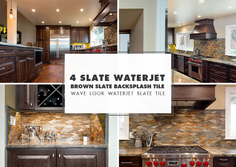 mosaic backsplash kitchen metal table for tile ideas projects photos com waterjet brown gray slate