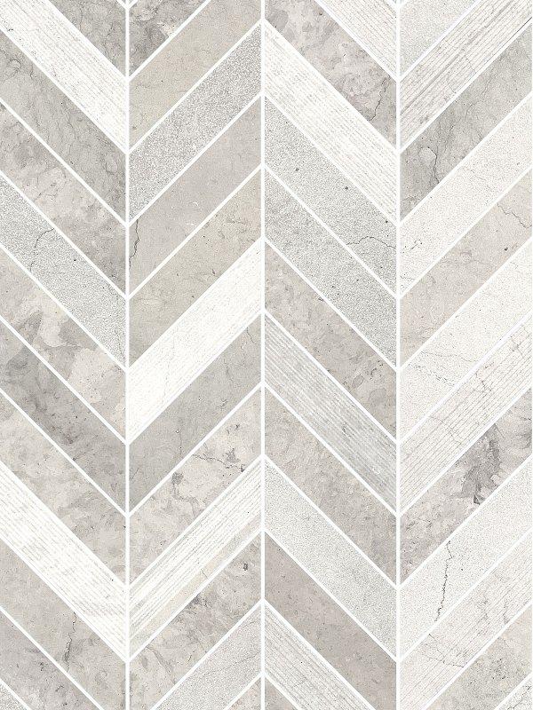 Gray modern limestone chevron mosaic backsplash tile BA631612