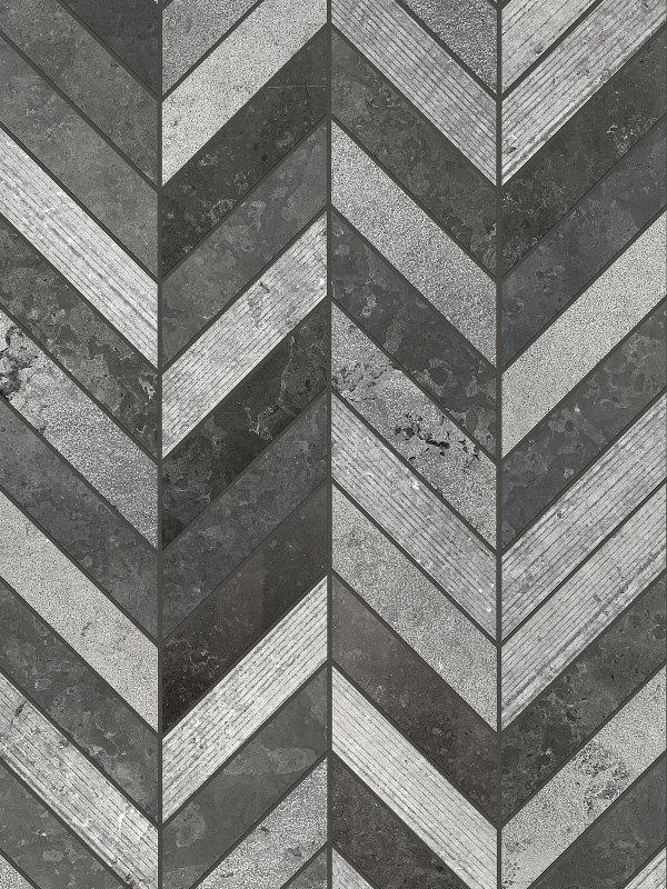 BA631614 Black Gray modern limestone chevron mosaic backsplash tile 1