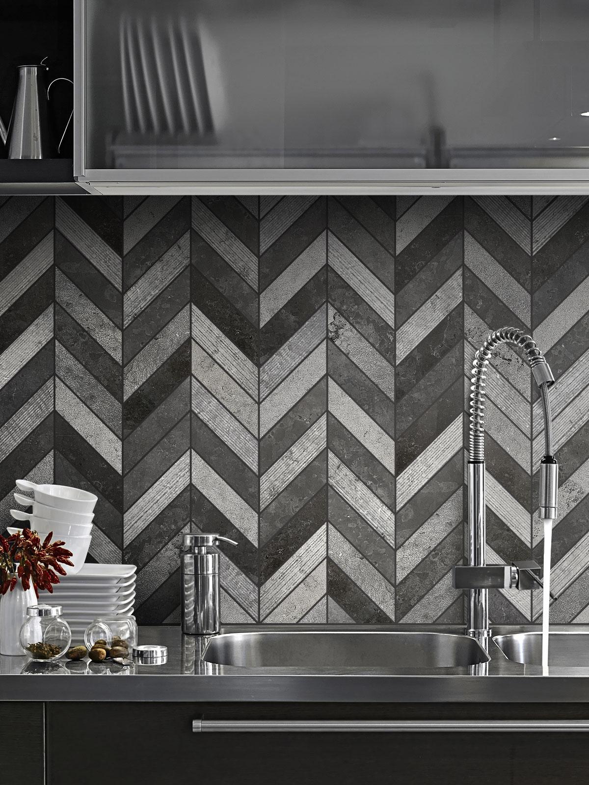 Black Gray modern limestone chevron mosaic backsplash tile cabinet steel countertop BA631614
