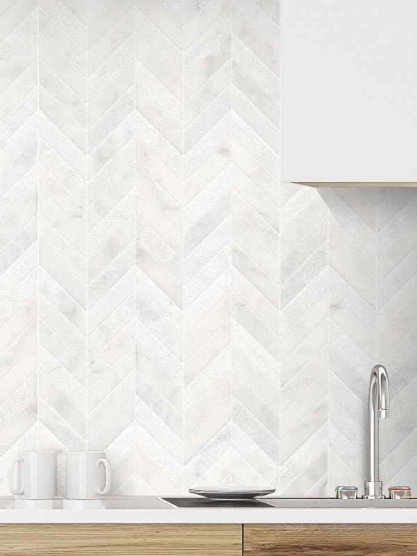 White modern marble chevron mosaic backsplash tile white cabinet BA631613