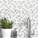 White Silver Color Elegant Glass Backsplash Tile Backsplash Com