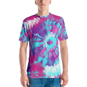 Blue And White Tie Dye Men's Tee Shirt