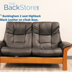 High Back Sofa And Loveseat Kirkland Sofas Stressless Buckingham 2 Seat Paloma Black Color Leather Recliner