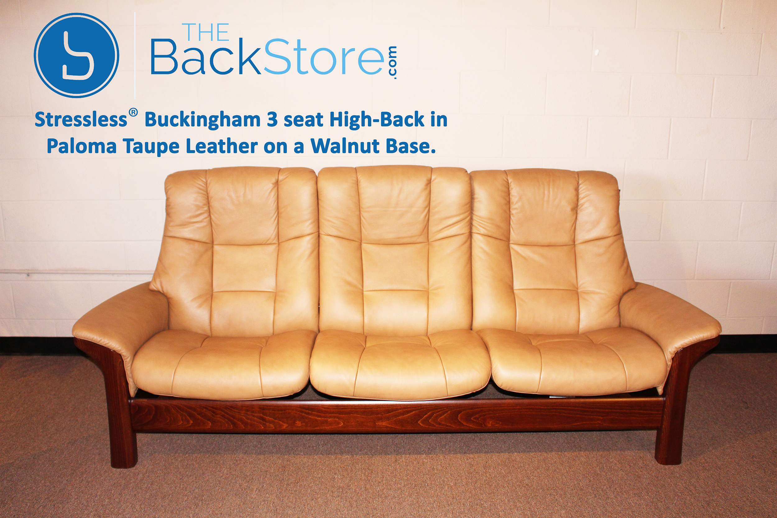 Stressless Buckingham 3 Seat High Back Sofa Paloma Taupe Color