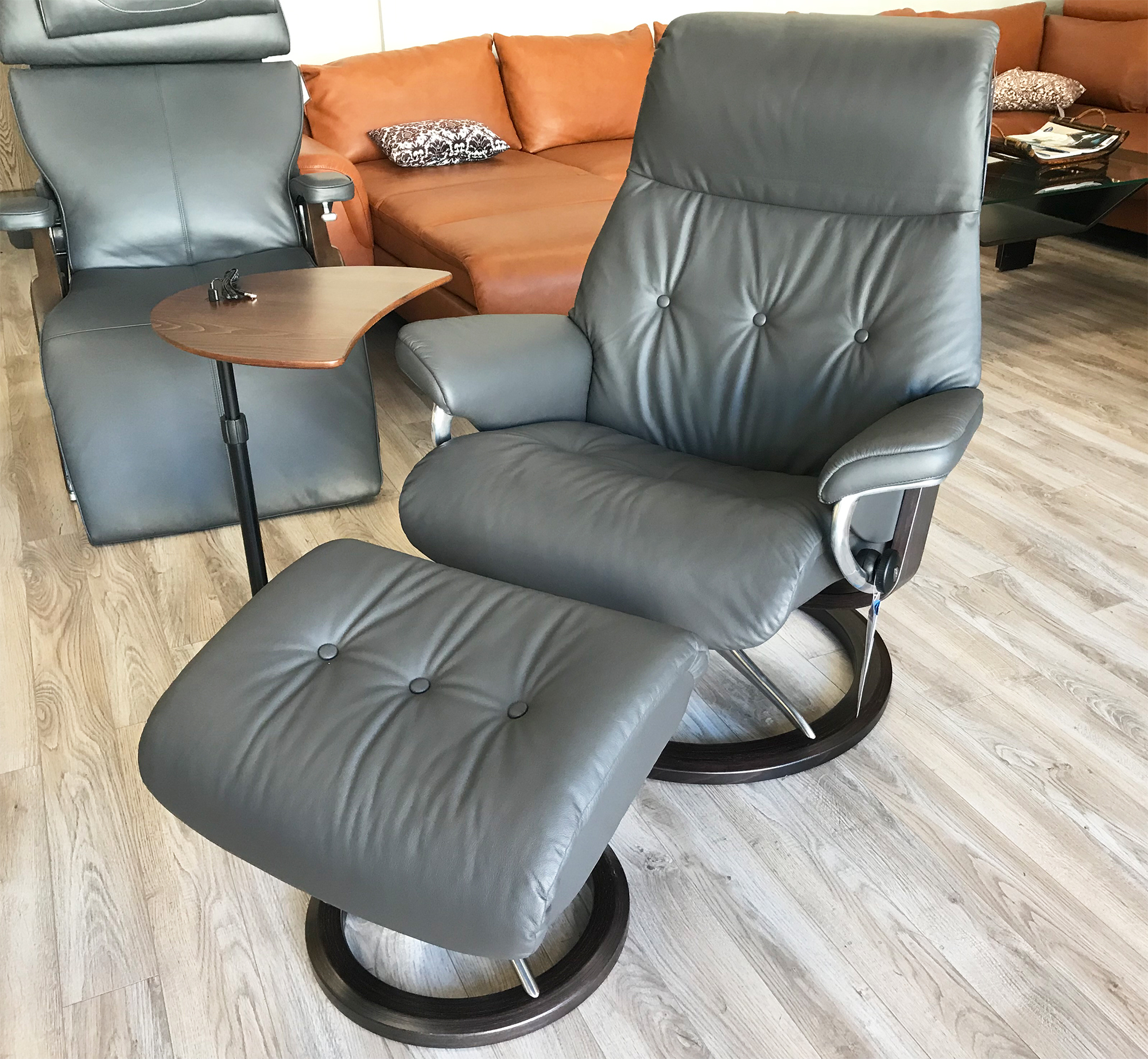 Leather Chairs With Ottoman Stressless Wing Recliner Chair And Ottoman In Paloma Black Leather By Ekornes