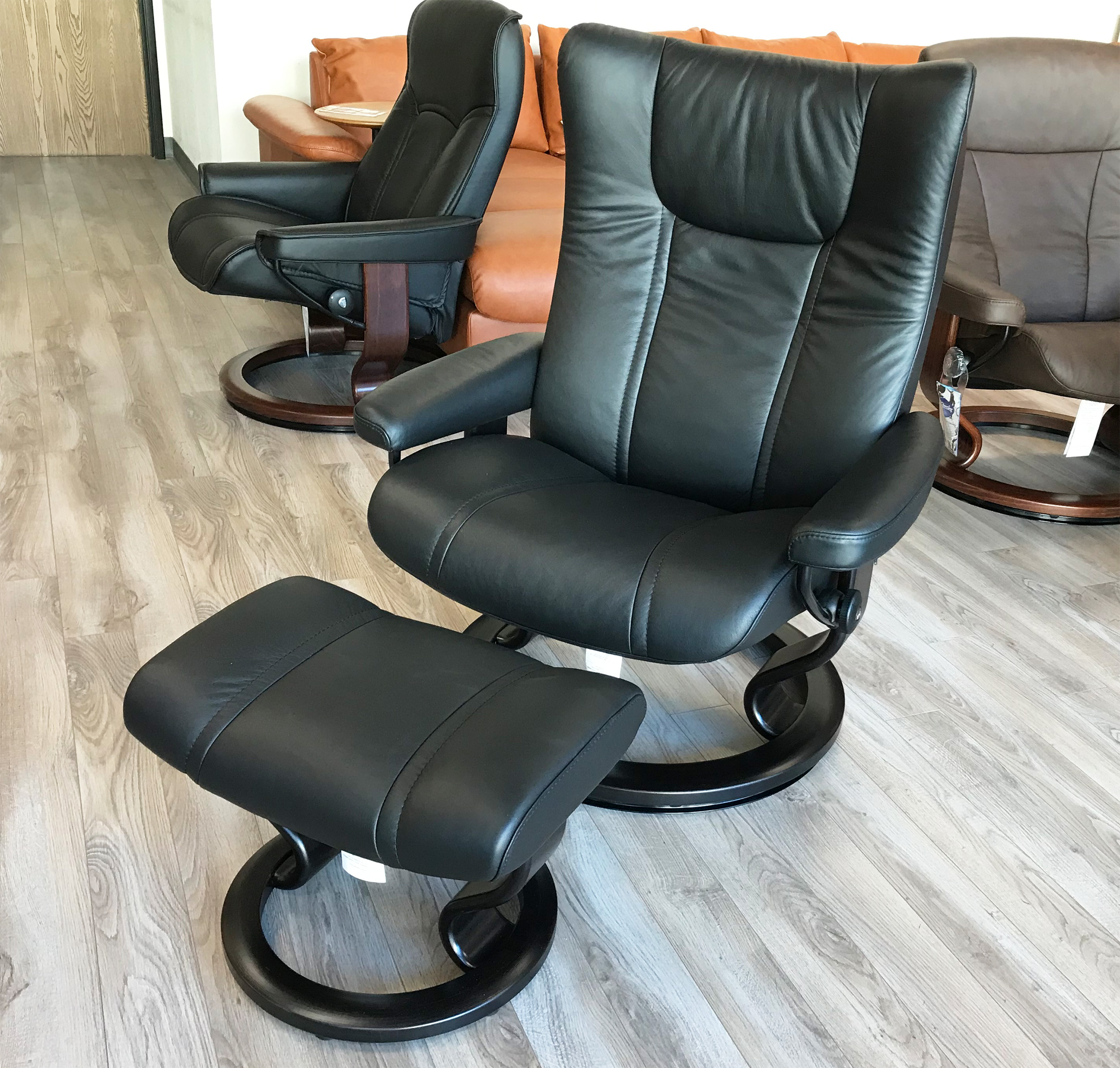 Leather Reclining Chairs Stressless Wing Recliner Chair And Ottoman In Paloma Black Leather By Ekornes