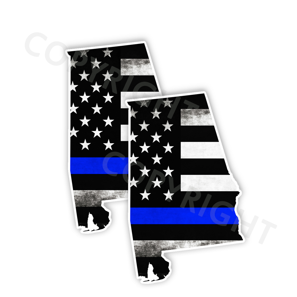 Thin Blue Line Alabama Bumper Stickers