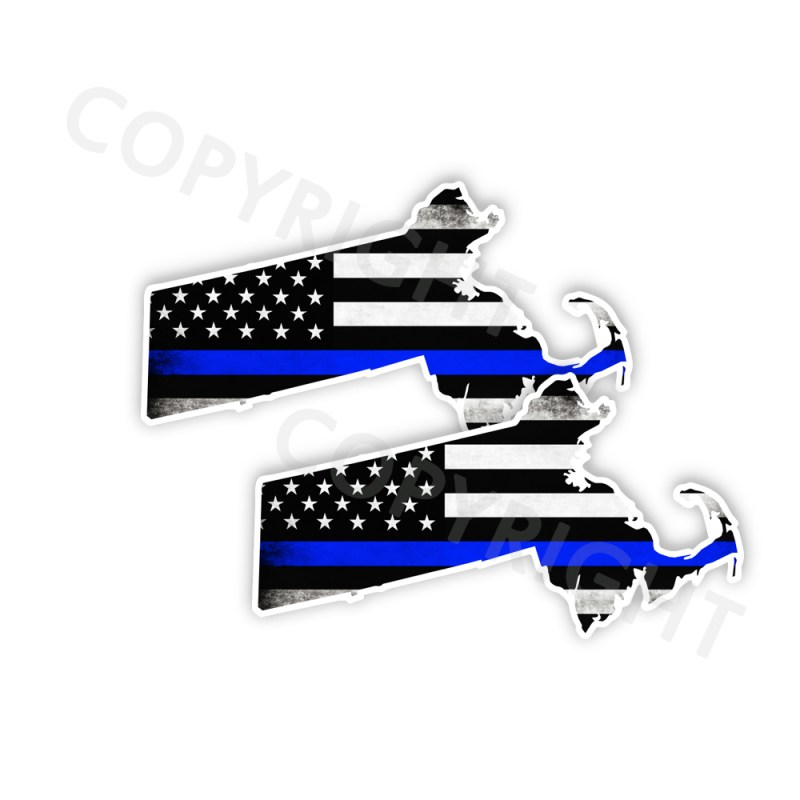 Thin Blue Line Massachusetts Bumper Stickers
