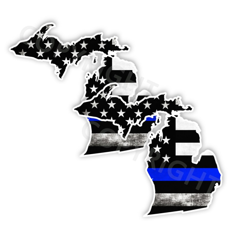 Thin Blue Line Michigan Bumper Stickers