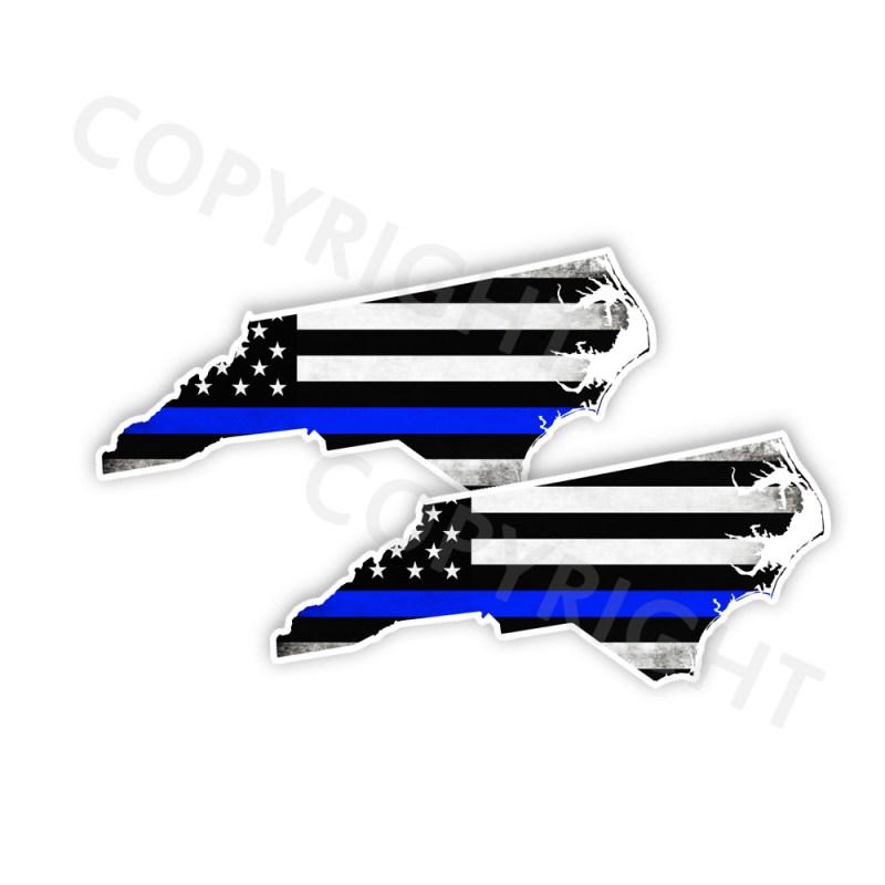 Thin Blue Line North Carolina Stickers