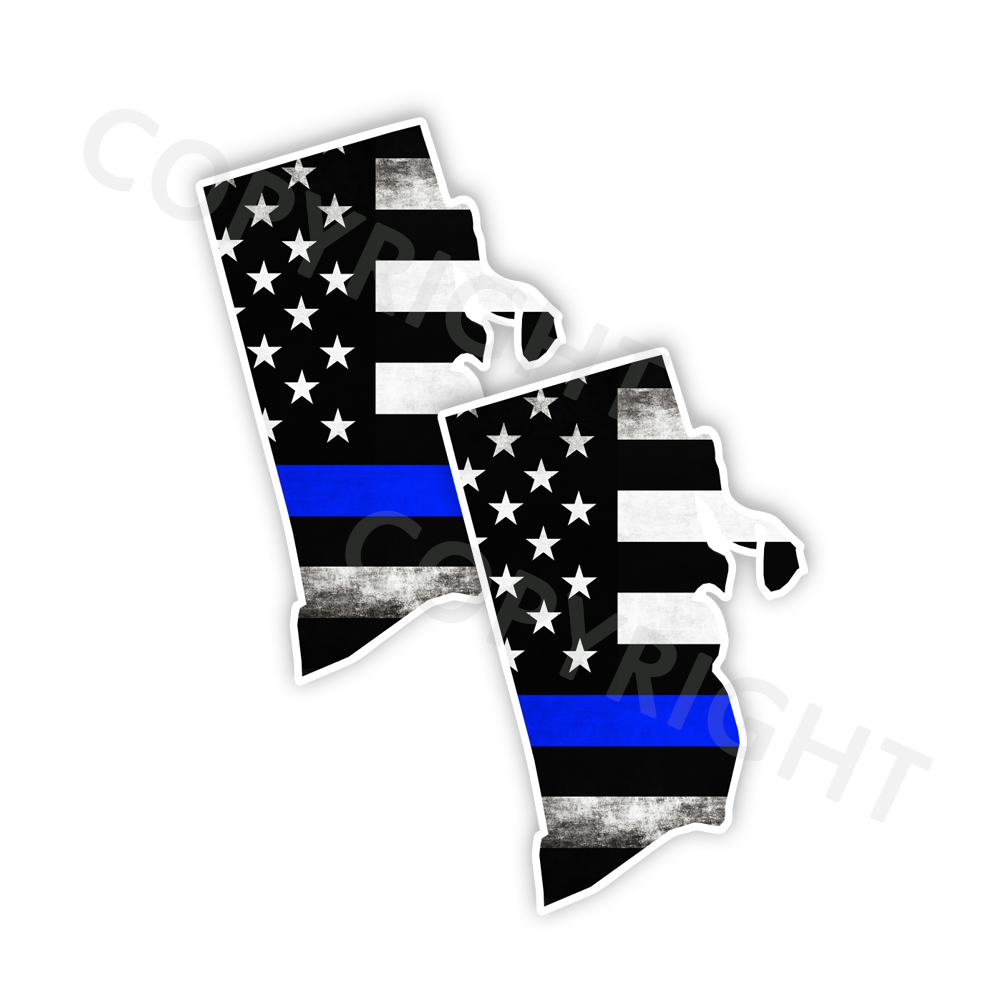 Thin Blue Line Rhode Island Bumper Stickers