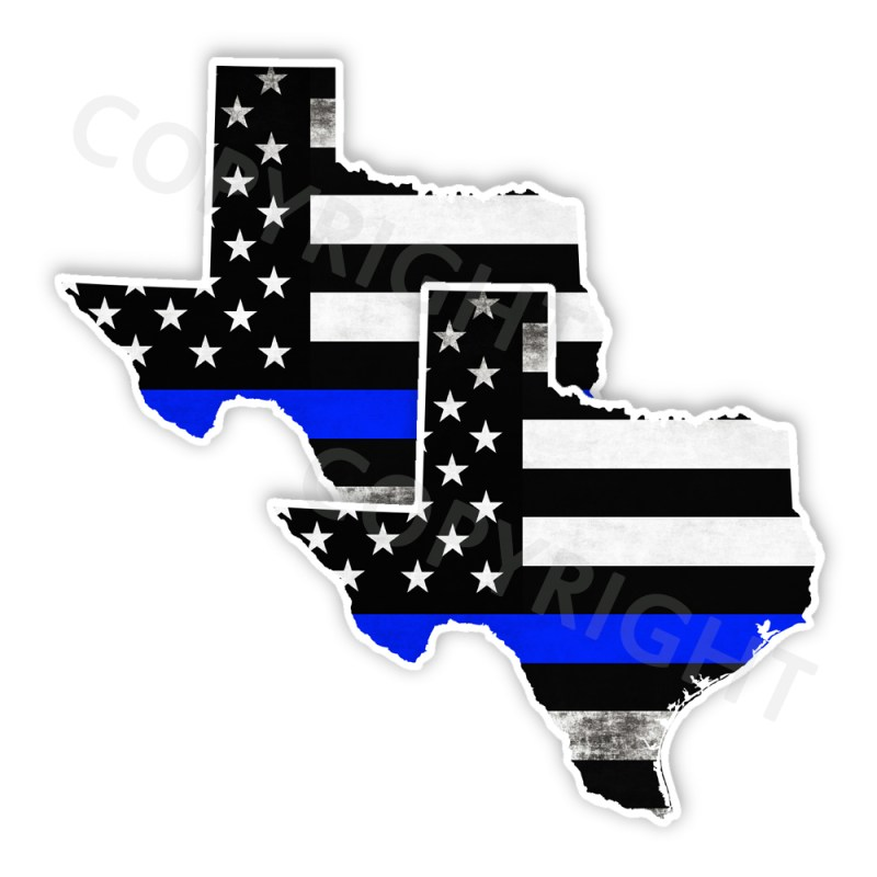Thin Blue Line Texas Bumper Stickers