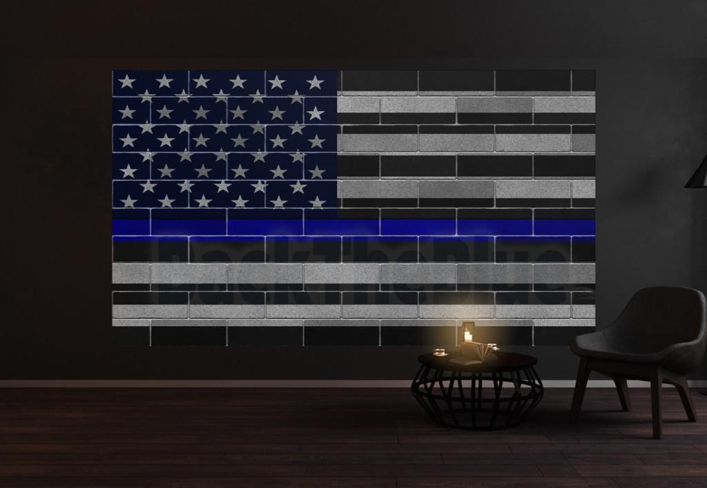 Thin Blue Line American Flag Wall Mural Vinyl Decal Sticker