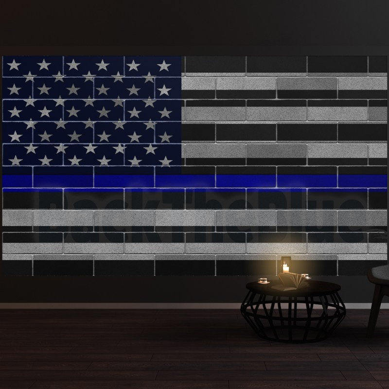 Thin Blue Line American Flag Wall Mural Vinyl Decal Sticker