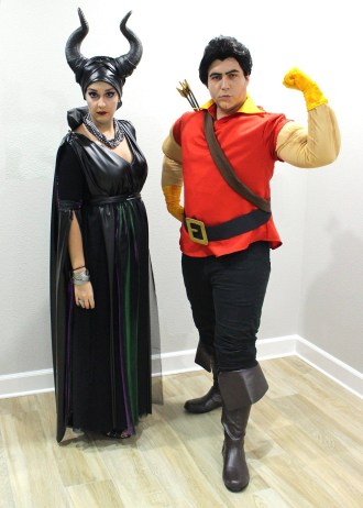 Maleficent and Gaston Halloween costumes.