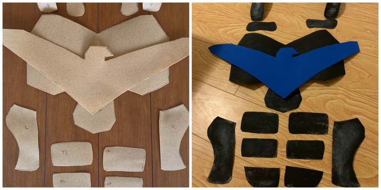 Nightwing costume Worbla panels before and after paint.