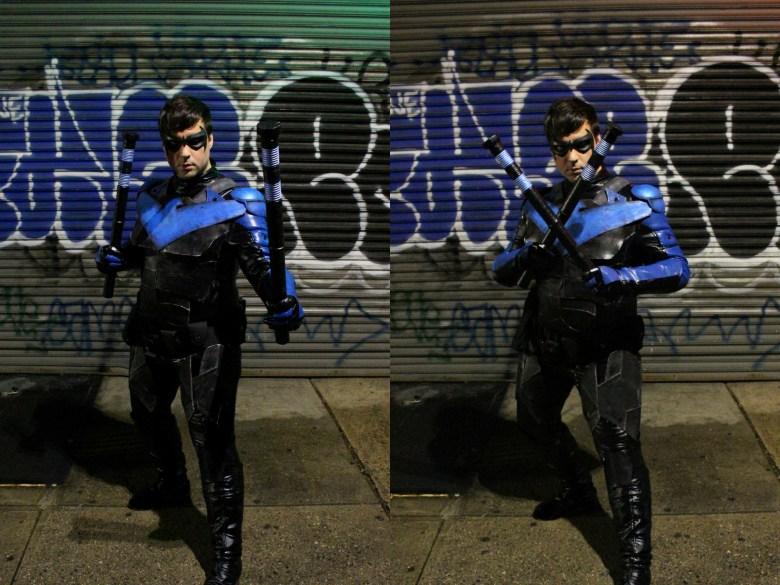 Two shots of Nightwing on a graffiti wall.