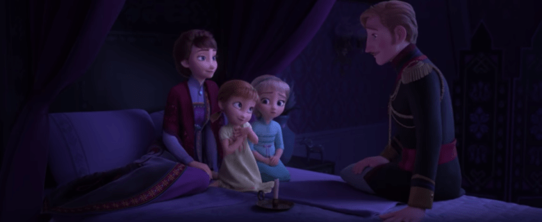 King Agnarr tells Anna and Elsa a story about and enchanted forest.