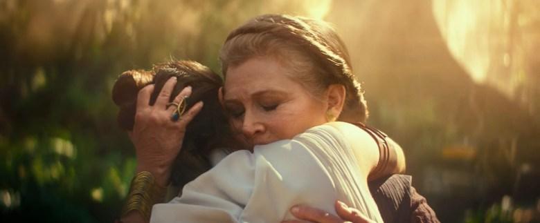 Admiral Organa hugs Rey.