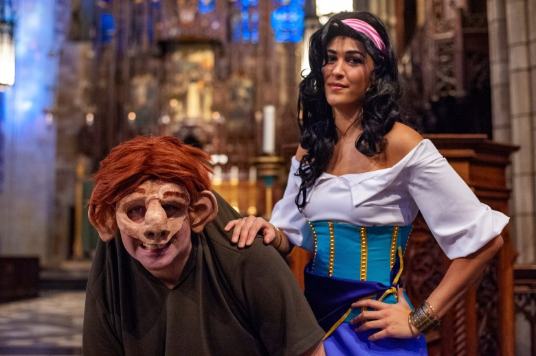 Brendan McWhirk as Quasimodo and Andrea Arreaza as Esmeralda