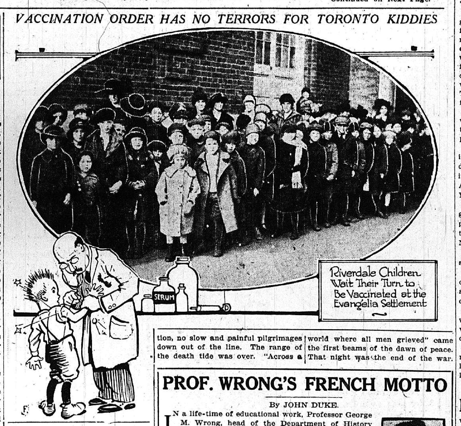 Vaccination Order Has No Terrors For Toronto Kiddies, Toronto Star Weekly  Nov. 15,