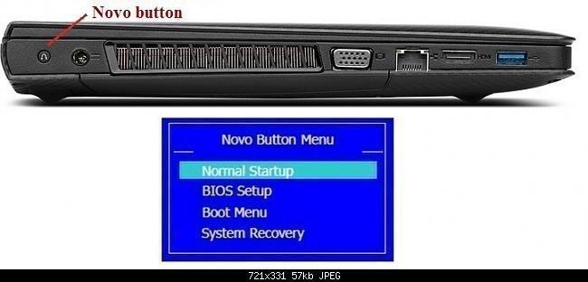 Lenovo G50 Recovery Key: Press F12 Enter Recovery Environment