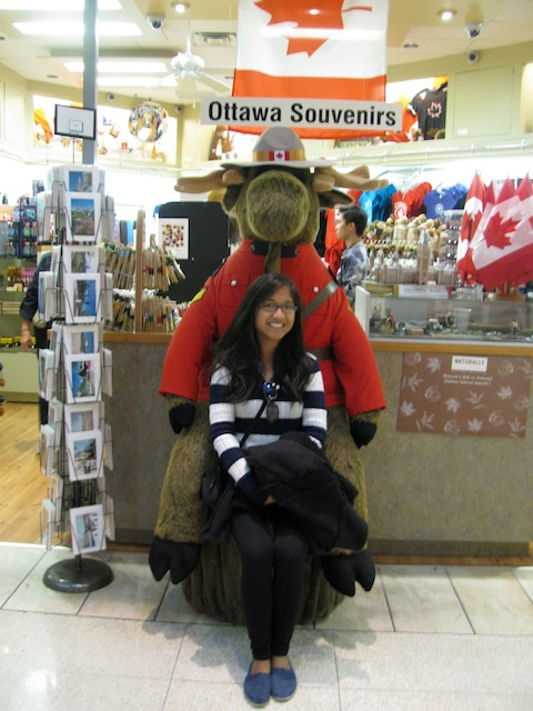 I wanted a photo with the guards so badly, but none were found during my time in Ottawa. So, I went for a photo with a moose in uniform instead :P