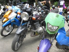Motorcycles parked at the entrace