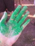 Colored powder hand