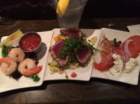 Chef's Trio at Grotto Fish Market: fresh shrimp, ahi and salmon