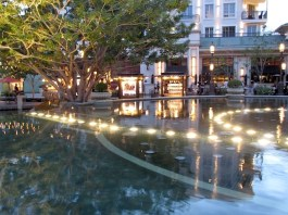 Fountain at peace as the sun sets