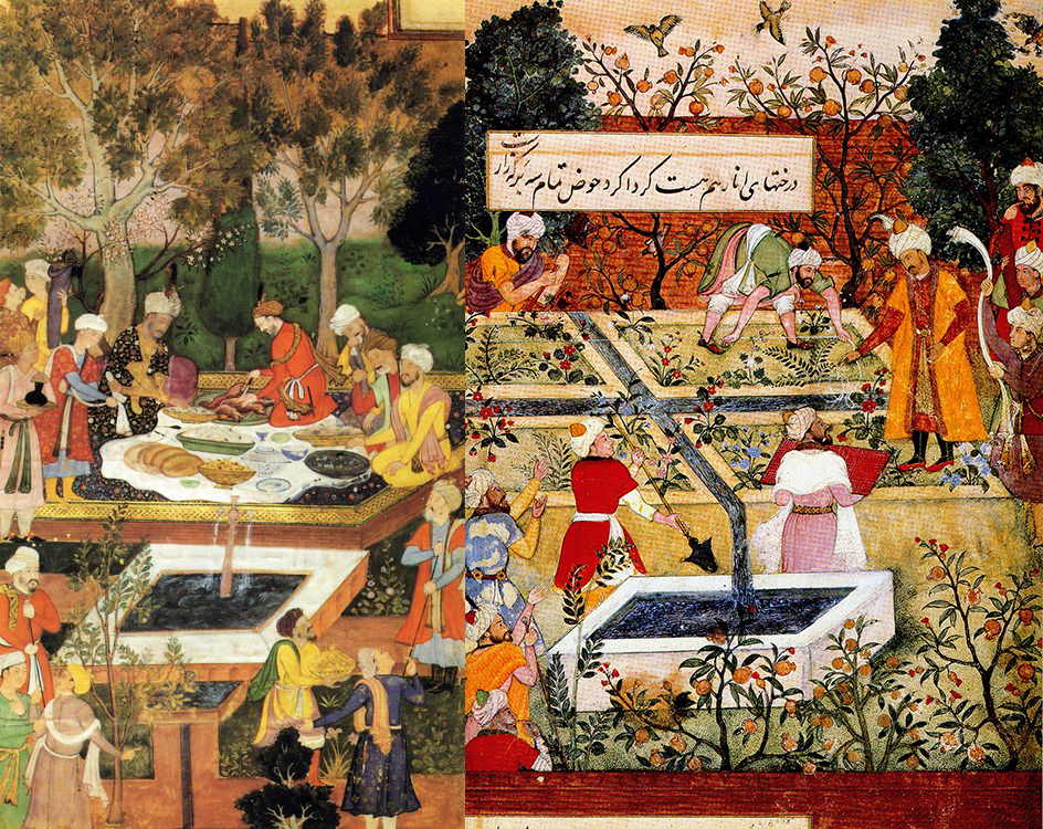 Persian miniatures paintings of Babur Entertained in the Jahan Ara Garden in Herat, and Babur giving instruction for the layout of the Bagh-iVafa near Kabul.