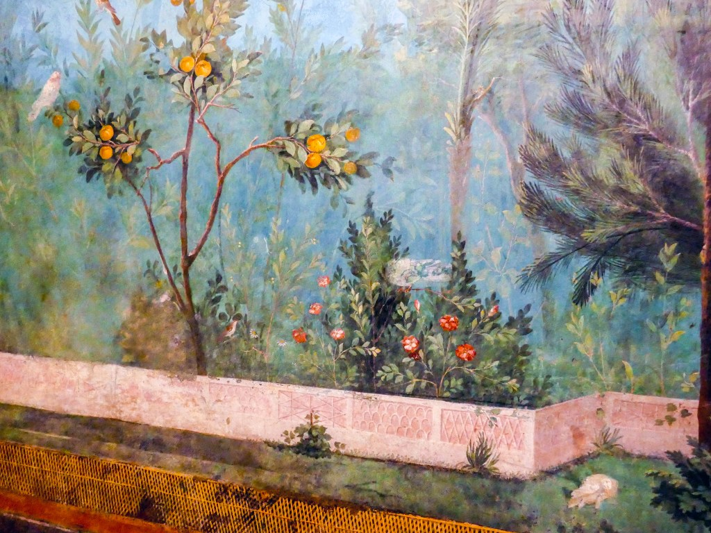 Livia's garden fresco. Detail of a quince treeCydonia oblongaand red flowers of Rosa gallica var. officinalis (the apothecary's rose).