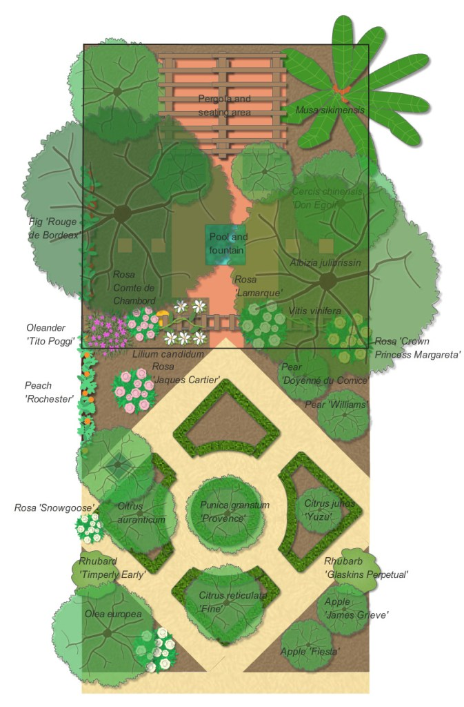 Monty Don's Paradise Gardens. A plan of our new garden inspired by Paradise gardens.