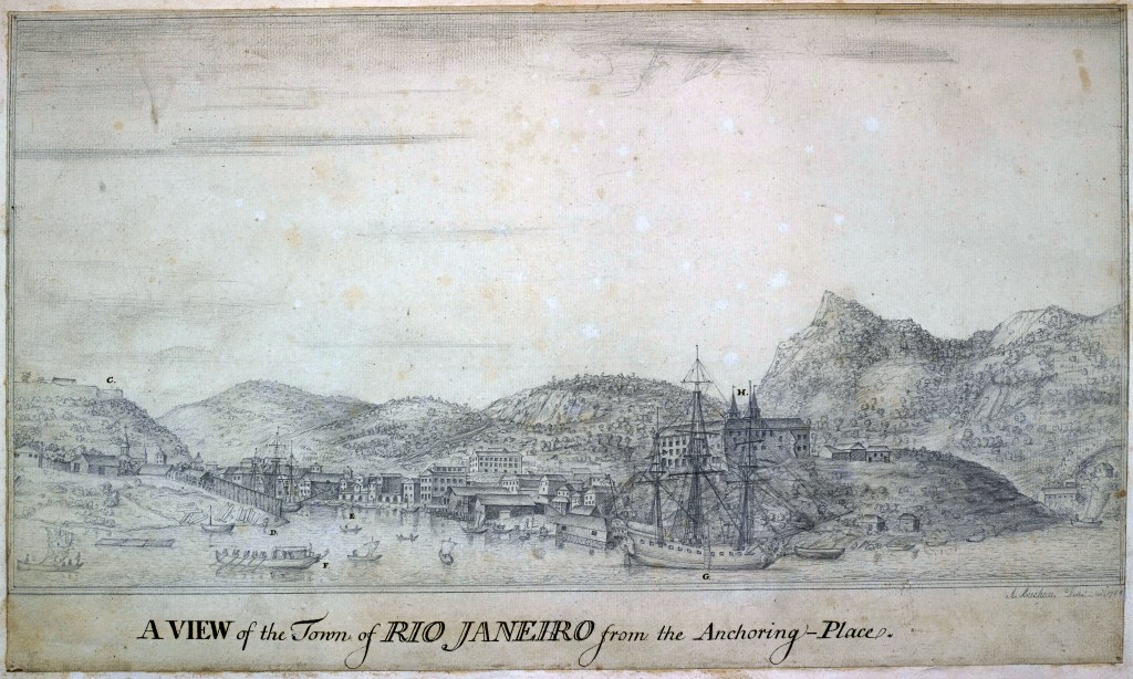 View of Rio de Janeiro, from the anchoring place. Fort St. Sebastian on the left, and the Benedictine convent on the high ground above the ship, the Old Ambuscade. Drawn by Alexander Buchan, artist on board the Endeavour, in November 1768. © The British Library.